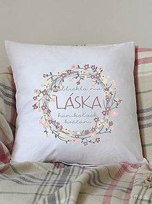Úžitkový textil - Vankúš 40x40cm bavlna KVETINOVÁ LÁSKA - 8622153_