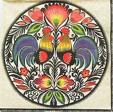 Papier - S1069 - Servítka - folk, polish folk, kohút, ľudový motív, kvety - 8626778_
