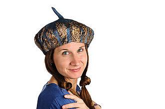Čiapky - Plstená vlnená baretka z Merino vlny a hodvábu, modro- hnedá - 8628468_