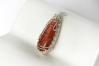 Náhrdelníky - slnečný kameň s wrap obrubou Ag - 8624367_