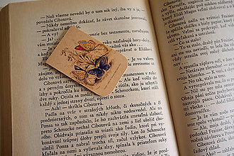 Papiernictvo - Magnetická záložka - Vintage motýle - 8628372_