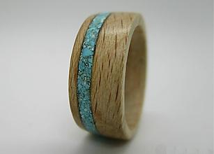 Prstene - Drevený prsteň buk + Tyrkys - 8624149_