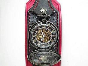 b3b198869 Náramky - Steampunk vreckové/náramkové hodinky červeno čierne - 8628317_