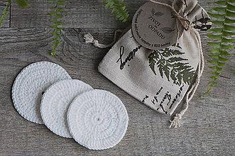 Drobnosti - ZERO WASTE biele háčkované odličovacie tampóny z BIO bavlny (3 ks) - 8625115_