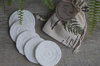 Drobnosti - ZERO WASTE biele háčkované odličovacie tampóny z BIO bavlny (5 ks + vrecúško) - 8628869_