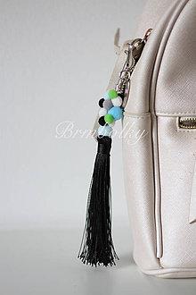 Kľúčenky - Brmbolky na kabelky - jedinečný doplnok ČIERNA dlhá - 8626503_
