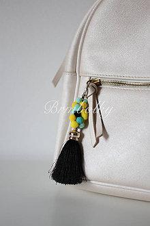 Kľúčenky - Brmbolky na kabelky - jedinečný doplnok ČIERNA - 8626618_