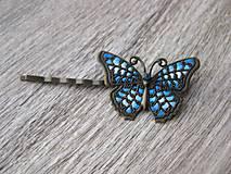 Ozdoby do vlasov - Sponka s motýľom - 8625062_