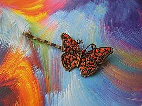 Ozdoby do vlasov - Sponka s motýľom (Veľký motýľ oranžovo červený - sponka č.1319) - 8624914_