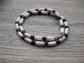 Šperky - Pánsky náhrdelník okolo krku (bielo čierny č.1327) - 8625642_