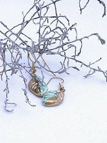 Náušnice - náušnice zlato zelený list - 8624698_