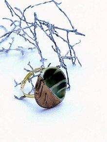 Prstene - prsteň zeleno zlatý list - 8624880_