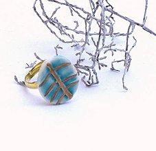 Prstene - prsteň zlato tyrkysový  list - 8625305_