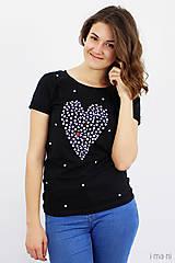 Tričká - Dámske tričko čierne BODKOVANÁ - 8627033_
