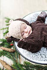 Detské čiapky - Prechodná ušianka ... MACKO béžový - 8629326_