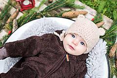Detské čiapky - Prechodná ušianka ... MACKO béžový - 8629331_