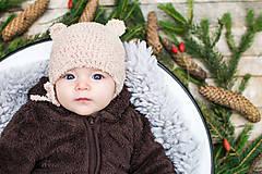 Detské čiapky - Prechodná ušianka ... MACKO béžový - 8629332_