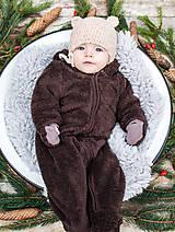 Detské čiapky - Prechodná ušianka ... MACKO béžový - 8629335_
