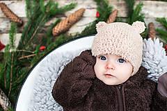 Detské čiapky - Prechodná ušianka ... MACKO béžový - 8629336_