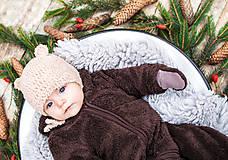 Detské čiapky - Prechodná ušianka ... MACKO béžový - 8629337_