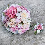 Svadobná kytica v ružových a staroružových odtieňoch