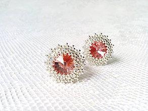 Náušnice - Rose peach earrings (Rhodium earrings / Swarovski crystal) - 8630038_