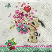 Papier - S1070 - Servítky - pes, psík, muffiny, koláč, torta, motýľ, oslava - 8631482_