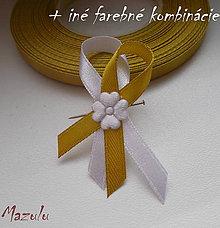 Pierka - svadobné pierko bielo/zlaté - 8631795_