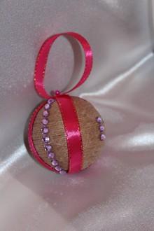 Dekorácie - ***AKCIA*** Vianočná guľa jutová ružová 3 ks - 8632970_