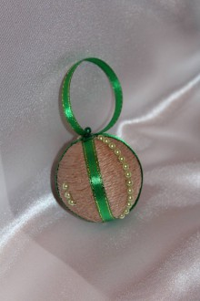 Dekorácie - Vianočná guľa jutová zelená malá 3 ks - 8633007_