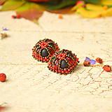 Náušnice - Vintage pumpkins n.2  - vyšívané náušnice - 8630346_