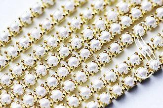 Galantéria - Štrasová retiazka perličková 3mm/10 cm - 8633212_
