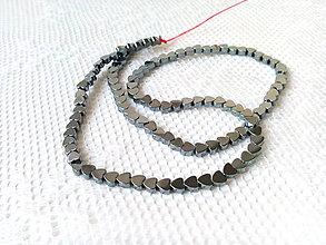 Korálky - Hematitové srdiečka 4mm - čierne - 8629405_