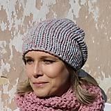 Čiapky - pink grey kulich - 8629083_