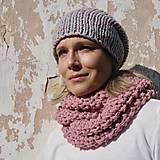 Čiapky - pink grey kulich - 8629084_