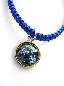 Náramky - modrotlač drobne kvietky - modra shamballa - 8631853_