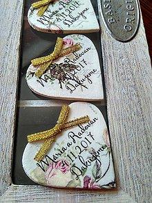 Darčeky pre svadobčanov - vintage magnetky do zlata - 8629654_