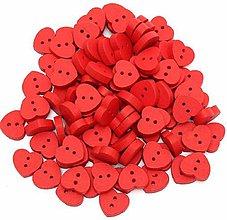 Galantéria - Gombíček drevený červené srdiečko 1,3 x 1,5 cm - 8633017_