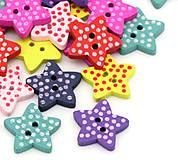 - Drevený gombík hviezdička s bodkami (balíček 10ks) - 8630095_
