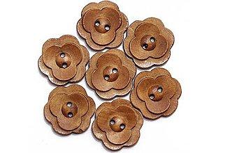 Galantéria - Drevený gombík kvetinka 23mm - 8631765_