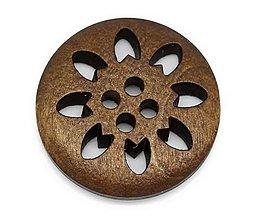 Galantéria - Drevený gombík vyrezávaný 25mm - 8631797_