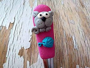 Pomôcky - lyžička s mačičkou a klbkom - 8632326_