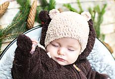 Detské čiapky - Prechodná ušianka ... MACKO béžový - 8633390_