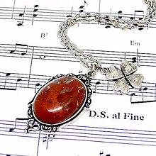 Náhrdelníky - Red Jasper & Luck Necklace / Náhrdelník s červeným jaspisom a štvorlístkom /0476 - 8633998_