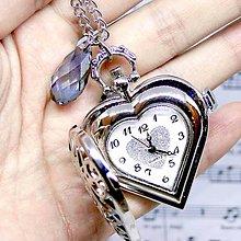 Náhrdelníky - Vintage Swarovski Pocket Watches Pendant / Hodinky na retiazke v tvare srdca so swarovski slzou /0482 - 8635390_