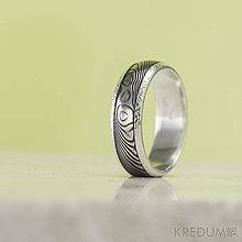 Prstene - Stříbrný snubní prsten a damasteel - Luna - produkt č. 1354 - 8634922_