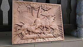 Drevené obrazy 3D reliefy Poľovníctvo