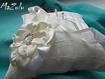 Prstene - svadobný vankúšik v maslovom - 8635829_