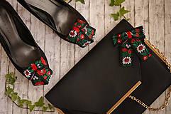 Obuv - Set folk klipy na topánky čierne a mašličková brošňa - 8636532_
