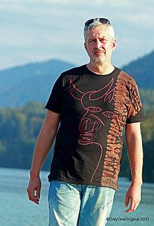 Tričká - Pánske tričko batikované, maľované TORO - 8634589_